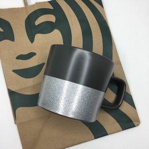 Starbucks Mug Gray Silver Glitter Stars